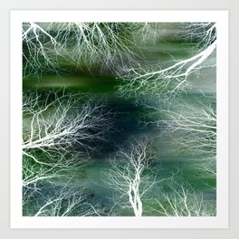 Abstract Midnight Trees Blue Teal Green Art Print