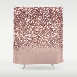 Glam Rose Gold Pink Glitter Gradient Sparkles Shower Curtain