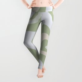 Liquid Swirl Contemporary Abstract Pattern in Light Sage Green Leggings