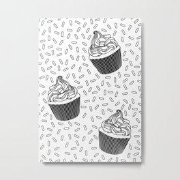 Coloring Book Cupcakes and Sprinkles Metal Print