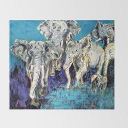 Elephant  Family Throw Blanket