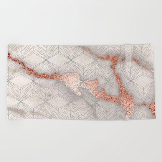 Rose gold marble pattern II Beach Towel