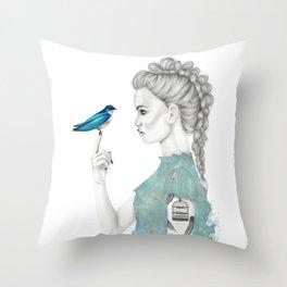Bluebird girl Throw Pillow