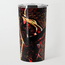 2375s-AB Nude Woman in Red with Wine Glass Abstract Feminine Power Flow Travel Mug
