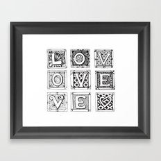 Love - Doodled cards with letters Framed Art Print
