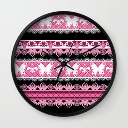 Black and pink striped pattern . Wall Clock