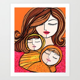 Mother and Baby Twins Art Print