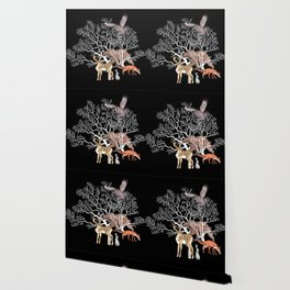Print with forest animals and tree. Wallpaper