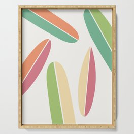 Abstract Retro Color Surfboards Serving Tray