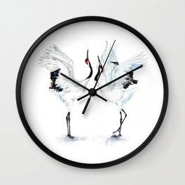 Dancing Japanese Red-crowned crane Wall Clock