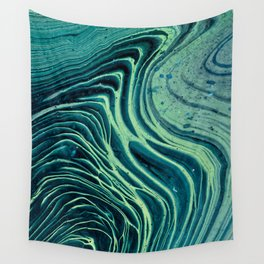 Lagoon Acrylic Tree Ring Pour Painting Wall Tapestry