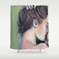 emerald Shower Curtains featuring Emerald  by Madelyne Joan Templeton