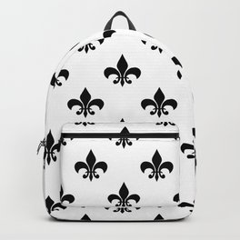 Black royal lilies on a white background Backpack