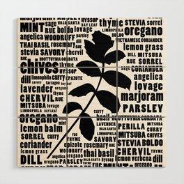 Herb Typography Kitchen Art - Black and White Wall Art Print Wood Wall Art