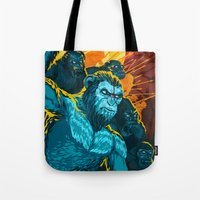 planet of the apes Tote Bags featuring Dawn Of The Planet Of The Apes by KD Artwork