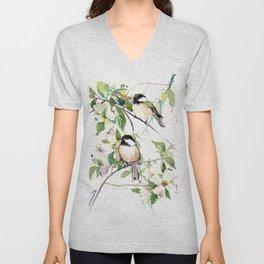 Chickadees and Dogwood Flowers Unisex V-Neck