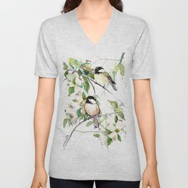 Chickadees and Dogwood Flowers Unisex V-Neck