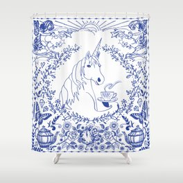 Blue Willow Tea Party Shower Curtain