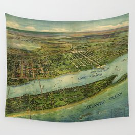 Panoramic view of West Palm Beach, North Palm Beach and Lake Worth, Florida (1915) Wall Tapestry