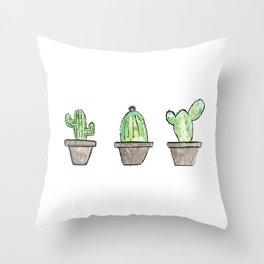 3 types of cactus Throw Pillow