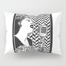 Lady Day (Billie Holiday block print blk) Pillow Sham