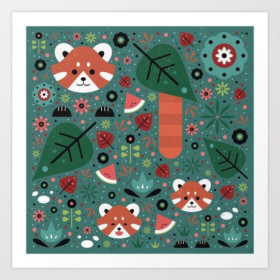 Red Panda & Cubs Art Print