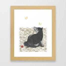 SHIBA INU, DOG, SEIGAIHA, JAPANESE Framed Art Print