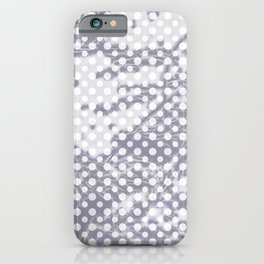 Lilac-gray polka dots with texture iPhone Case