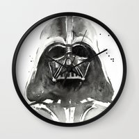 darth Wall Clocks featuring Darth Vader by Olechka