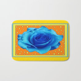 Decorative Blue Rose Yellow Mustard Color Pattern Bath Mat