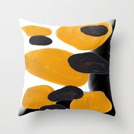 Mid Century Abstract Black & Yellow Fun Pattern Floating Mustard Bubbles Cheetah Print Throw Pillow