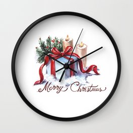 New Year's composition with candles, a gift and spruce branches. Wall Clock