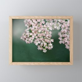 Blush Pink Flowers on Emerald Green Framed Mini Art Print