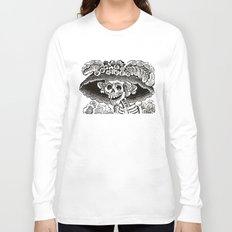 Calavera Catrina   Black and White Long Sleeve T-shirt