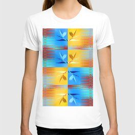 Birds of Paradise Retro Floral Blue and Gold T-shirt