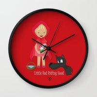 red riding hood Wall Clocks featuring Little Red Riding hood by MyimagesArt