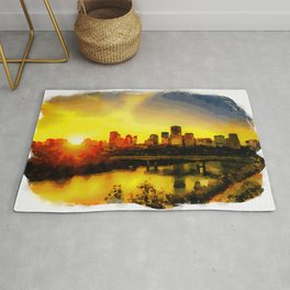 Sunset Above Edmonton Downtown And The Saskatchewan River, Canada Rug