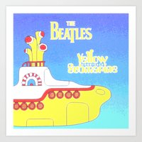 yellow submarine Art Prints featuring submarine by Emma Kennedy