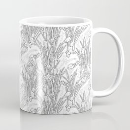 Blooming Crocuses, Garden Flowers, Black & White, Floral Pattern Coffee Mug