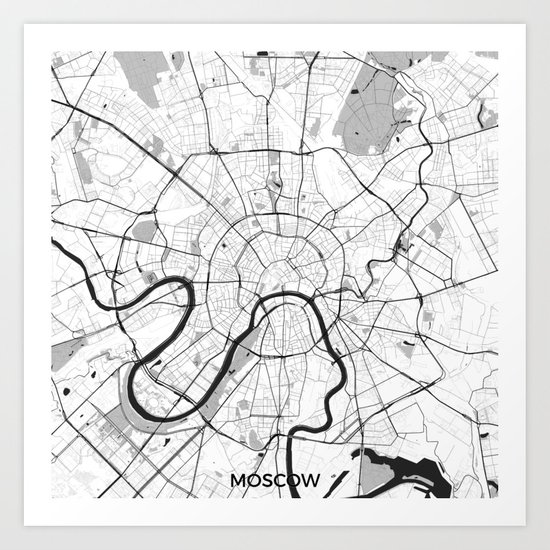 Moscow Map Gray Art Print