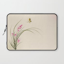 Oriental style painting - orchid flowers and butterfly 004 Laptop Sleeve