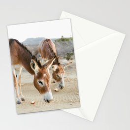 Two Donkeys Eating Apples Stationery Cards