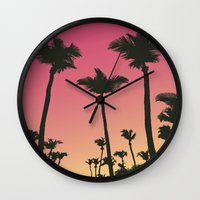 palms Wall Clocks featuring Palms by Cultivate Bohemia