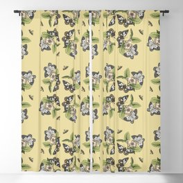 Butterflies and Camellias on Canary Yellow Pattern Blackout Curtain