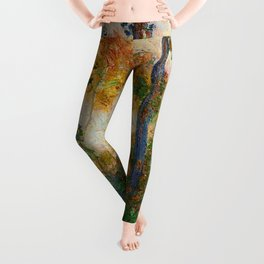 Autumn Trees in full fall foliage by the marshes landscape painting by Claude Monet Leggings
