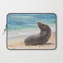 Sea lion sunbathing on beach Laptop Sleeve