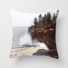 Splash on the Lake Bank Throw Pillow