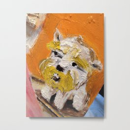 Cute Guardian Dog with Yellow Beard Metal Print