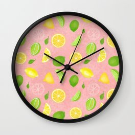 Pink Lemon Lime Rickey Wall Clock