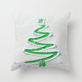 Simple Christmas Tree Hand Drawn in Snow on Green Festive Holiday Minimal Art Throw Pillow